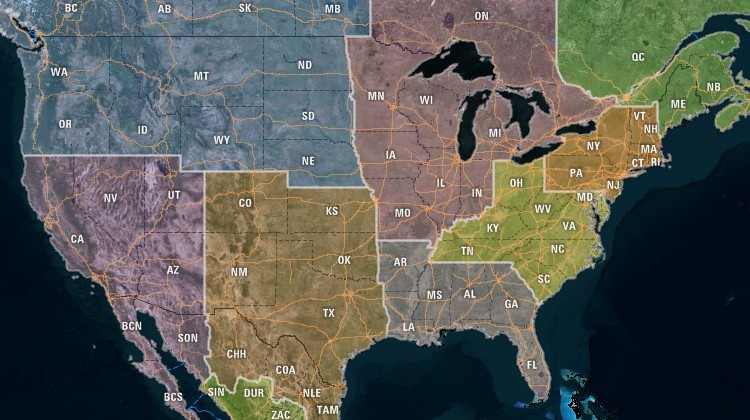 Map of North American territories created from states and provinces with Maptitude Google Maps alternative