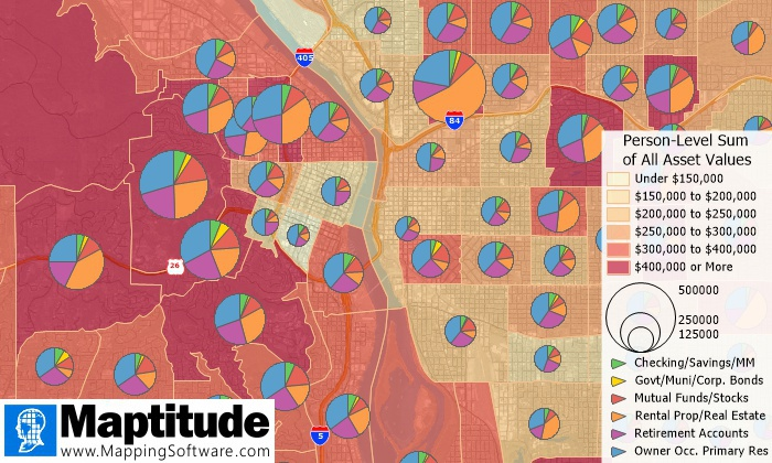 Maptitude 2020 map of financial assets
