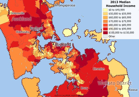 2013 Auckland Income map by Area Unit
