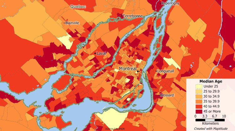 Canada demographic software map of Montreal youth population