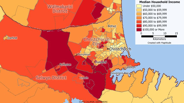 New Zealand Census data mapping of income