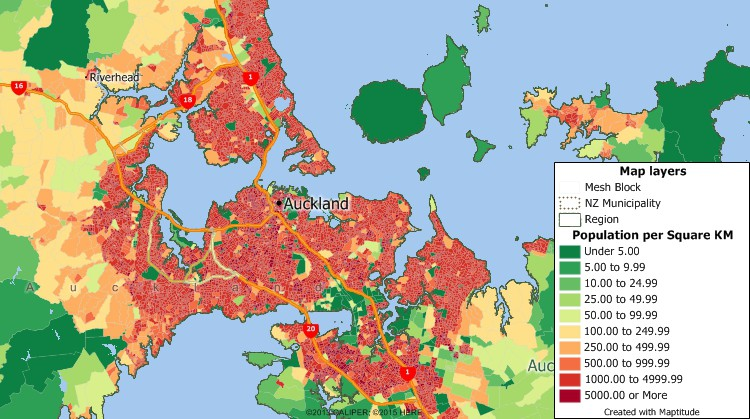 New Zealand Census data mapping of population density