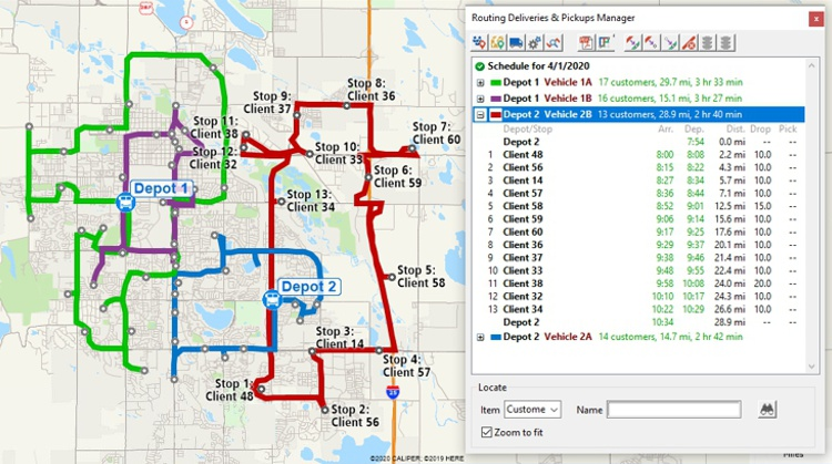 Multiple depot vehicle routing with Maptitude Omnitracs Strategic Planner alternative
