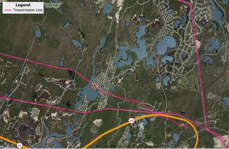 Maptitude electric transmission line map