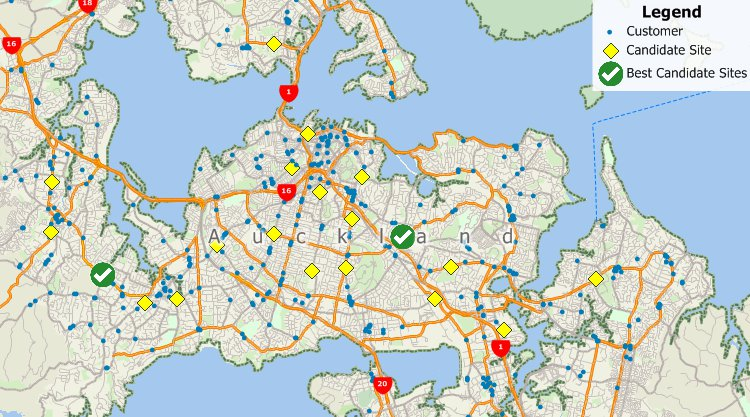 Maptitude GIS facility location results