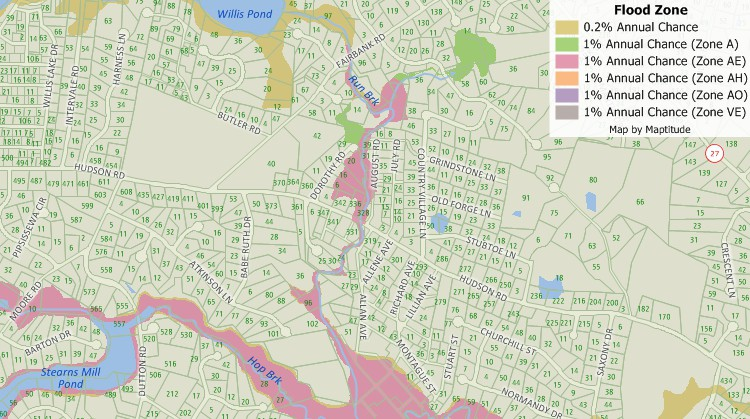 Assess flood risk with Maptitude insurance mapping software