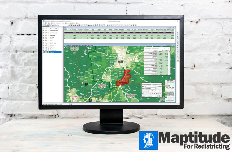 Maptitude for Redistricting interface on computer monitor
