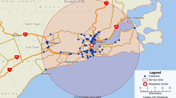 Maptitude GIS map of weighted center gravity location of customers in Dunedin, New Zealand