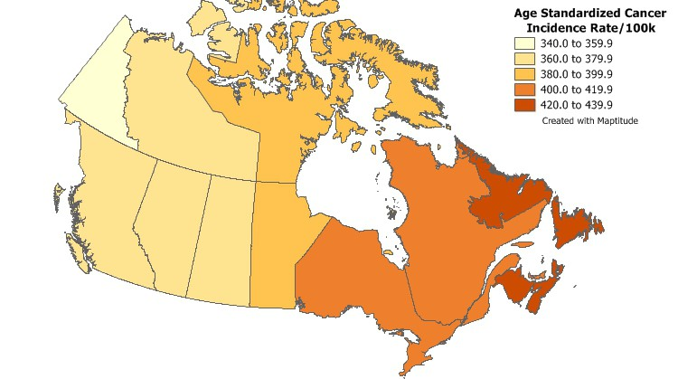 Find geographic patterns by mapping your Canada health data with Maptitude