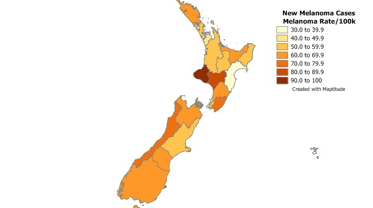 Find geographic patterns by mapping your New Zealand health data with Maptitude