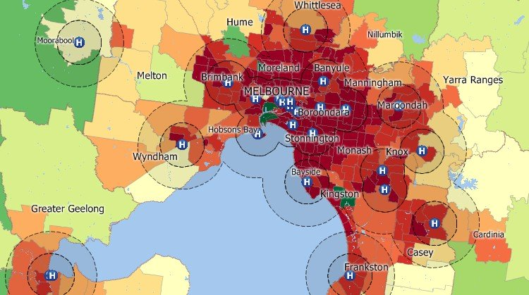Maptitude GIS map of buffers around Melbourne, Australia hospitals