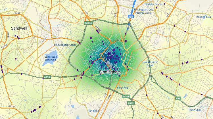 Maptitude GIS map of customer hot-spot in Birmingham, United Kingdom