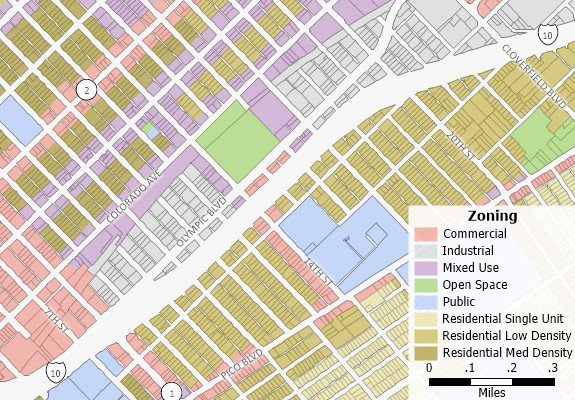 Zoning map created with Maptitude MapRight replacement