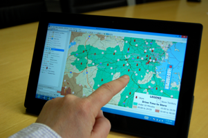 Maptitude business intelligence mapping software running on mobile tablet device