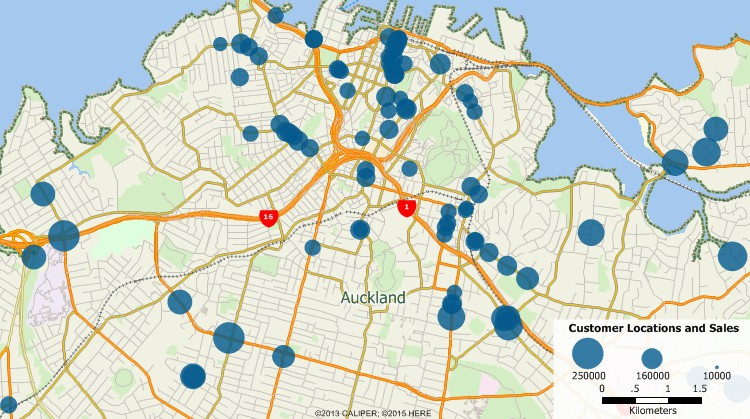 Sample Maptitude map of New Zealand customers geocoded by address and scaled by sales volume