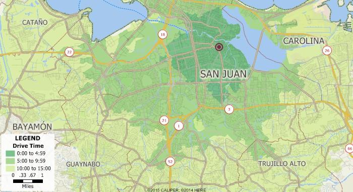 Maptitude drive-time ring map, San Juan