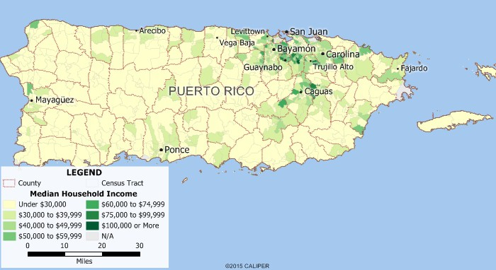 Maptitude map of Puerto Rico income distribution
