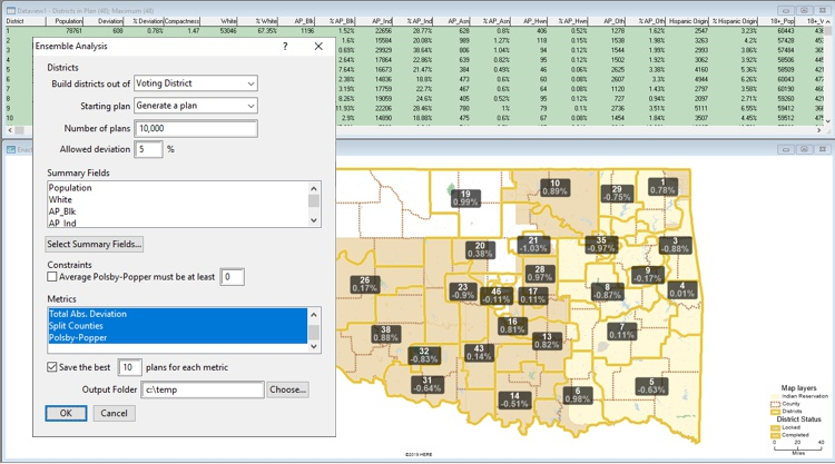 Maptitude for Redistricting Ensemble Analysis