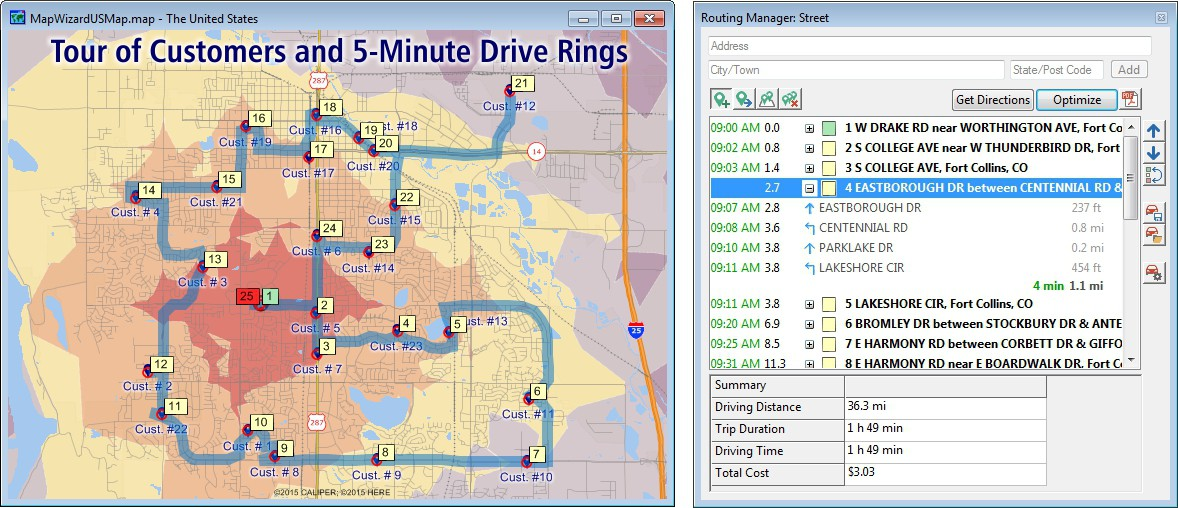 Maptitude mapping software Routing Manager and sample route map with drive-time rings