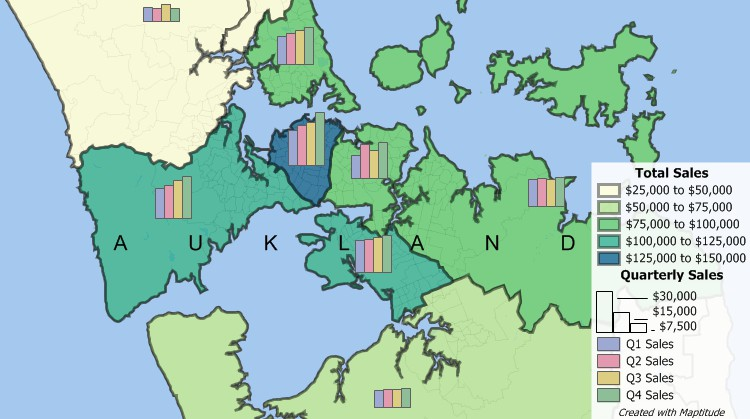 Maptitude New Zealand Sales Territory Mapping Software can build custom sales territories
