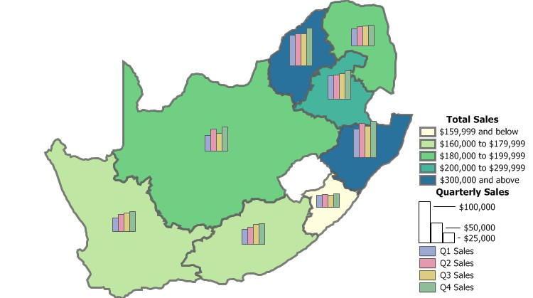 Maptitude South Africa Sales business mapping software can build custom sales territories