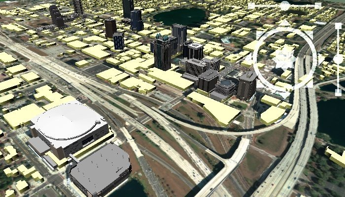 Maptitude 3-D View Map showing 3D Models & 3D Map Models in 3D Surface Maps