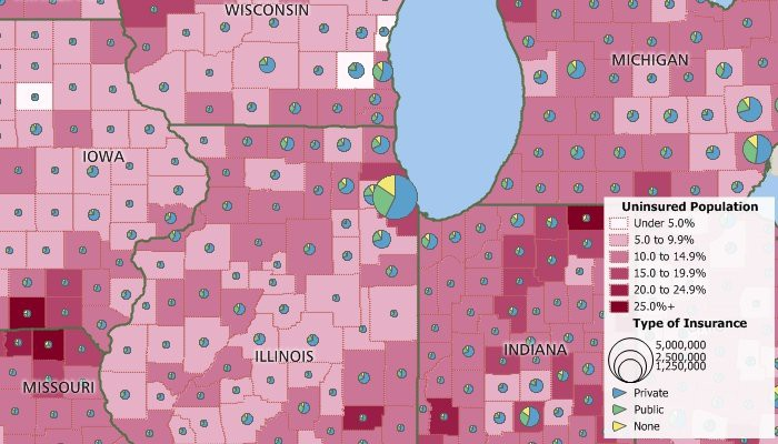 Maptitude map of health insurance coverage