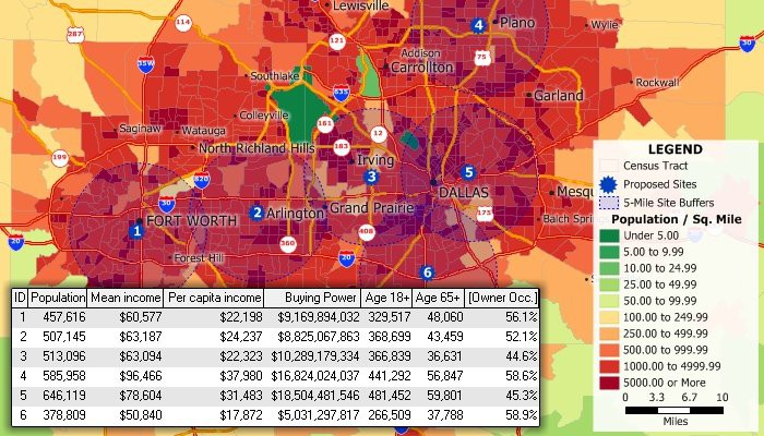 Analyze demographics, facility locations, and competitors with Maptitude inurance mapping software