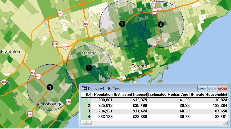 Maptitude GIS overlay results for demographics around Toronto, Canada sites