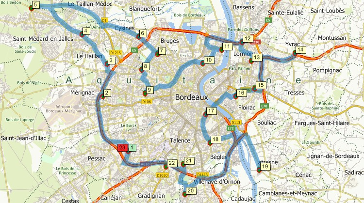 Minimum driving time route map that services multiple locations using Maptitude, the alternative to Microsoft AutoRoute