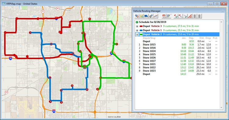 Vehicle routing with Maptitude