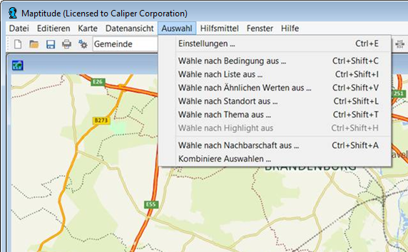 German Maptitude mapping software menus