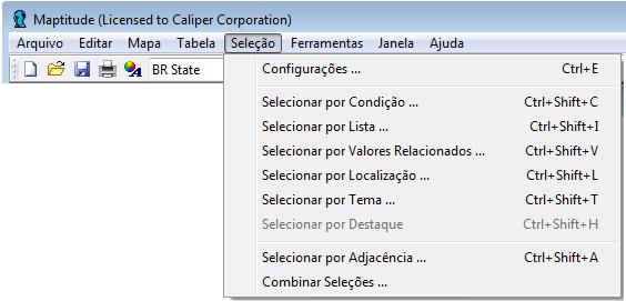 Portuguese Maptitude menus
