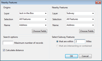 Nearby Features Dialog Box