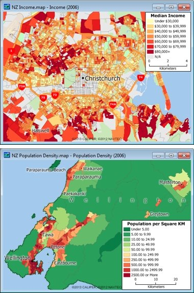 Sample Maptitude New Zealand Demographic Maps