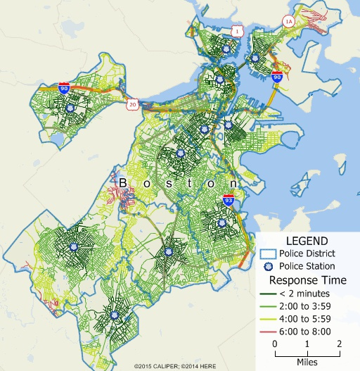 Maptitude map of territories based on drive-time to nearest police station