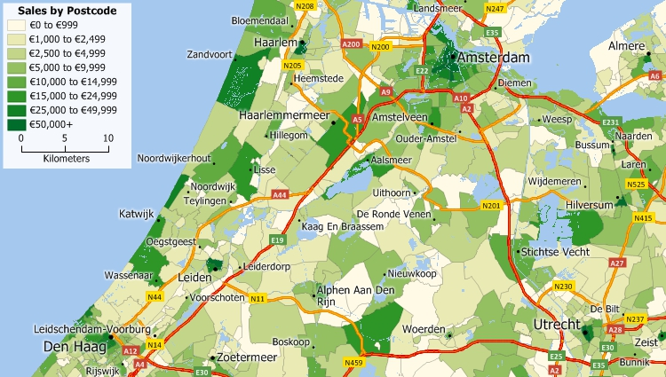 Maptitude Postcode Mapping Software for Netherlands