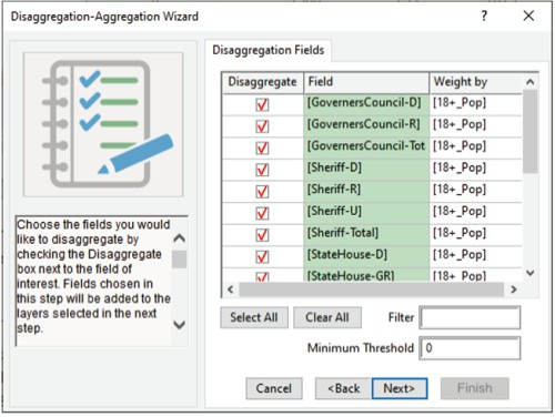 Disaggregation-Aggregation Wizard in Maptitude for Redistricting