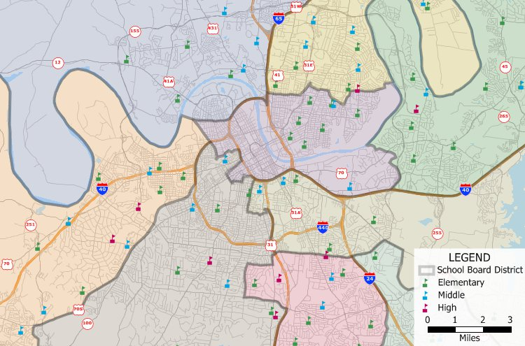 School board districts created with Maptitude school board redistricting software