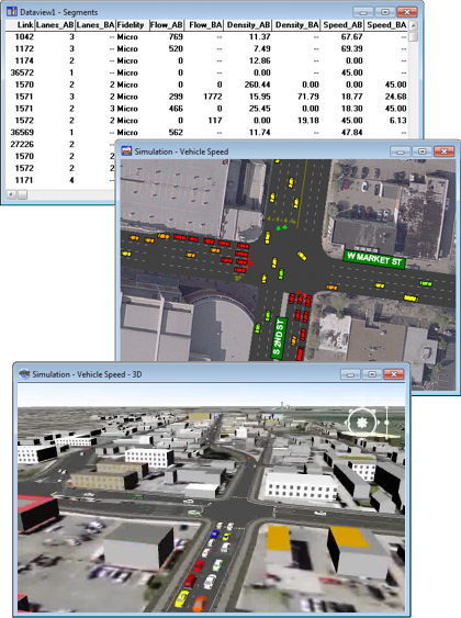 TransModeler Dataview, Map Simulation, and 3D Simulation Windows