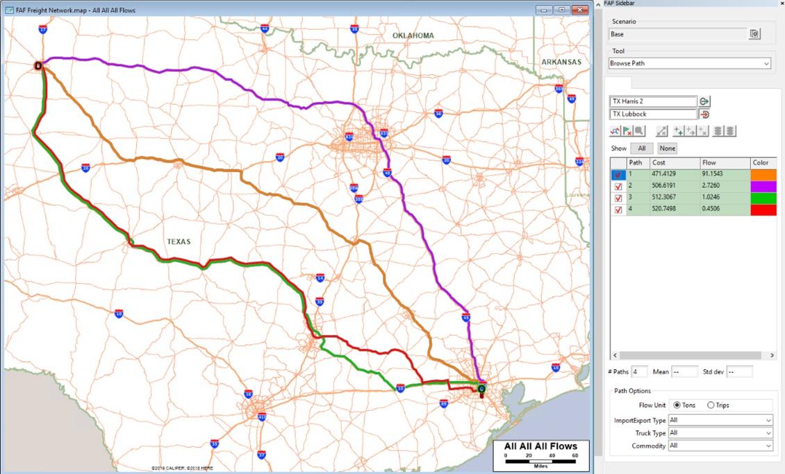 TransCAD 9 Corridor Truck Flows between Lubbock and Houston, Texas