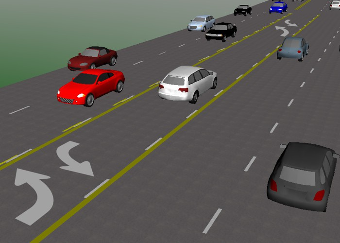 Center two-way left turn lane simulation