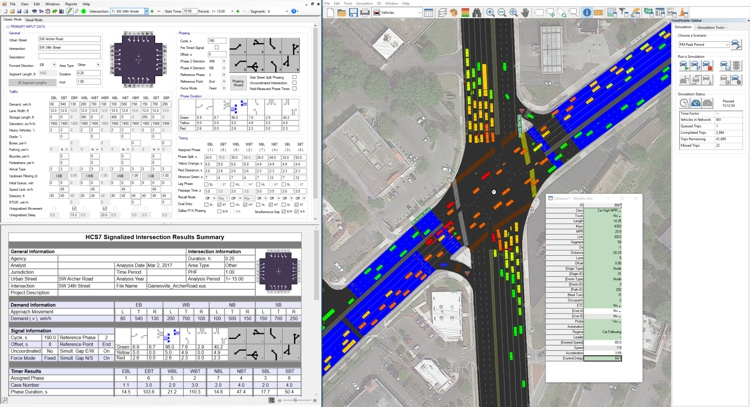 TransModeler traffic simulation showing level of service and traffic impact for signalized intersections and alternative intersections