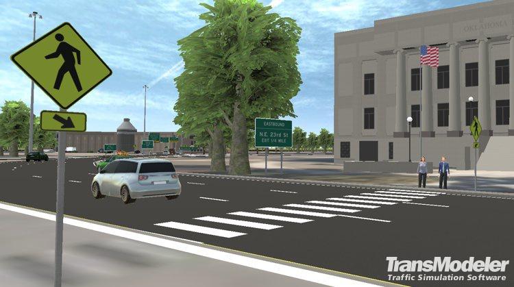 TransModeler pedestrian crosswalk