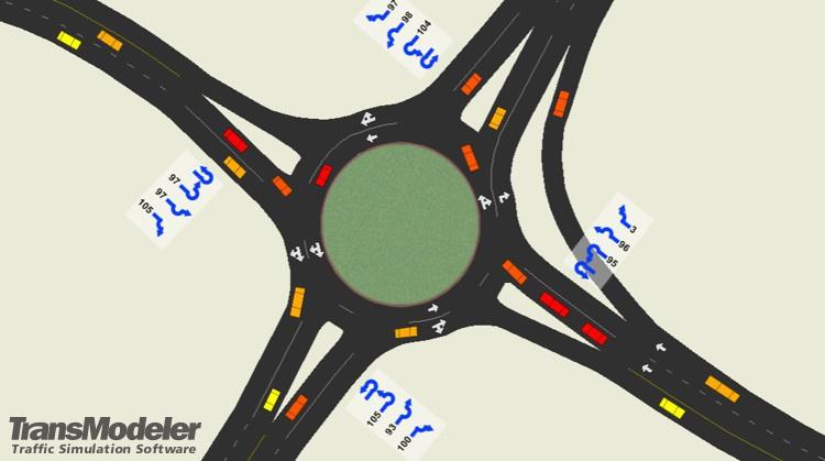 TransModeler roundabout simulation