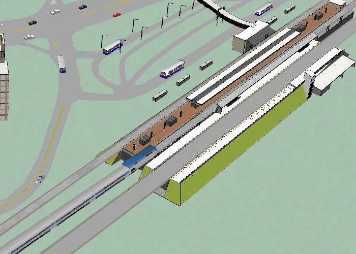 Simulation with Rail and Bus Transit