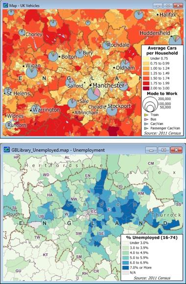 Sample Maptitude UK Demographic Maps