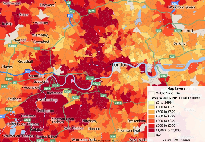 Map of income by super output area in Greater London