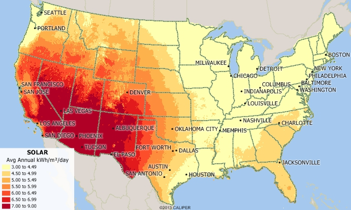 Maptitude map of solar efficiency