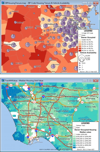 Sample Maptitude USA Demographic Maps